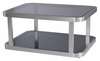 Allan Copley Designs - James Rectangular Cocktail Table with Smoked Grey Glass Top & Shelf and Brushed Stainless Steel Frame - 21104-01