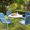 "Crosley Furniture - Griffith Metal 40"" Five Piece Outdoor Dining Set - 40"" Dining Table in White Finish with Sky Blue Finish Chairs - KOD1002WH"