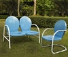 Crosley Furniture - Griffith 2 Piece Metal OutdoorConversation Seating Set - Loveseat & Chair in Sky Blue Finish - KO10005BL