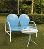 Crosley Furniture - Griffith 2 Piece Metal Outdoor Conversation Seating Set - Loveseat & Table in Sky Blue Finish - KO10006BL