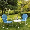 Crosley Furniture - Griffith 3 Piece Metal Outdoor Conversation Seating Set - Two Chairs in Sky Blue Finish with Side Table in White Finish - KO10004BL