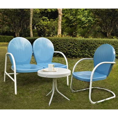 Crosley Furniture - Griffith 3 Piece Metal Outdoor Conversation Seating Set - Loveseat & Chair in Sky Blue Finish with Side Table in White Finish - KO10003BL