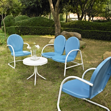 Crosley Furniture - Griffith 4 Piece Metal Outdoor Conversation Seating Set - Loveseat & 2 Chairs in Sky Blue Finish with Side Table in White Finish - KO10001BL