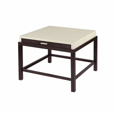 Allan Copley Designs - Spats 1-Drawer Square End Table in Espresso Finish with White on Ash Top - 3403-02