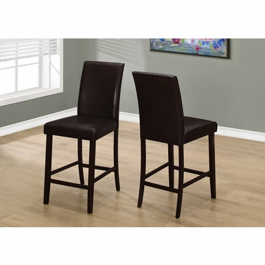 Monarch Specialties - Dining Chair Brown Leather Look Counter Height - (Set of 2) - I-1901