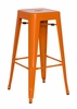 Chintaly - Galvanized Steel Bar Stool Orange  Set of 4 - 8015-BS-ORG