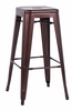 Chintaly - Galvanized Steel Bar Stool Red Copper  Set of 4 - 8015-BS-COP