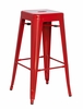 Chintaly - Galvanized Steel Bar Stool Red  Set of 4 - 8015-BS-RED