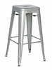 Chintaly - Galvanized Steel Bar Stool Shiny Silver  Set of 4 - 8015-BS-SLV
