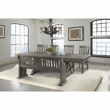 Picket House Furnishings - Stanford Dining Table, 4 Side Chairs, Pew Bench - DST100SB6PC