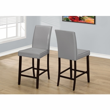 Monarch Specialties - Dining Chair Grey Leather Look Counter Height - (Set of 2) - I-1902