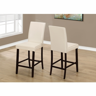 Monarch Specialties - Dining Chair Ivory Leather Look Counter Height - (Set of 2) - I-1903