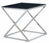 Allan Copley Designs - Excel Square End Table with Clear Glass Top on Polished Stainless Steel Base - 20804-02-CL
