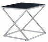 Allan Copley Designs - Excel Square End Table with Black Glass Top on Polished Stainless Steel Base - 20804-02-BL