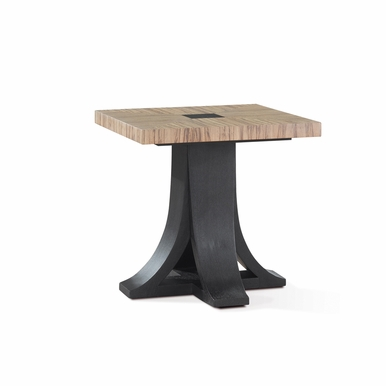 Allan Copley Designs - Bonita Square End Table with Zebrawood Top and Mocha on Oak Base - 30703-02