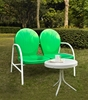 Crosley Furniture - Griffith 2 Piece Metal Outdoor Conversation Seating Set - Loveseat & Table in Grasshopper Green Finish - KO10006GR