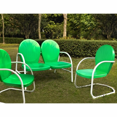 Crosley Furniture - Griffith 3 Piece Metal Outdoor Conversation Seating Set - Loveseat & 2 Chairs in Grasshopper Green Finish - KO10002GR