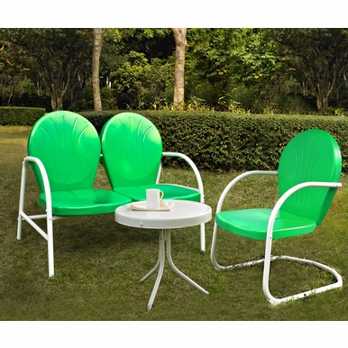 Crosley Furniture - Griffith 3 Piece Metal Outdoor Conversation Seating Set - Loveseat & Chair in Grasshopper Green Finish with Side Table in White Finish - KO10003GR