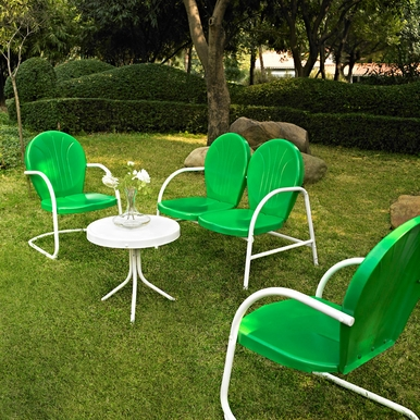 Crosley Furniture - Griffith 4 Piece Metal Outdoor Conversation Seating Set - Loveseat & 2 Chairs in Grasshopper Greeen Finish with Side Table in White Finish - KO10001GR