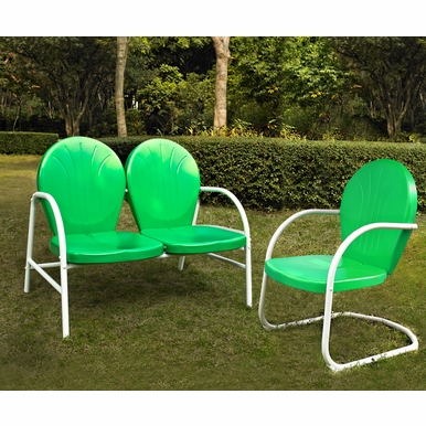 Crosley Furniture - Griffith 2 Piece Metal Outdoor Conversation Seating Set - Loveseat & Chair in Grasshopper Green Finish - KO10005GR