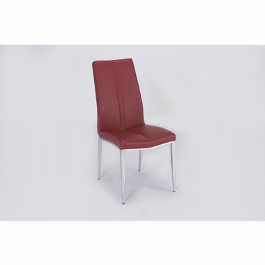 Chintaly - Abigail Side Chair W/ Chrome Legs in Red PU - Set of 4 - ABIGAIL-SC-RED