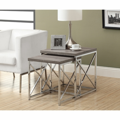 Monarch Specialties - Nesting Table 2 Pieces Set Dark Taupe With Chrome Metal - I-3255