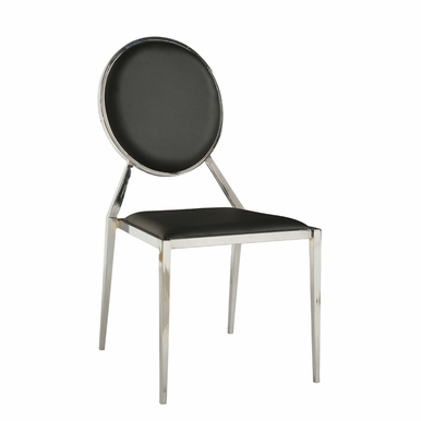 Chintaly - Lisa Oval Shaped Back Side Chair Black  Set of 4 - LISA-SC-BLK