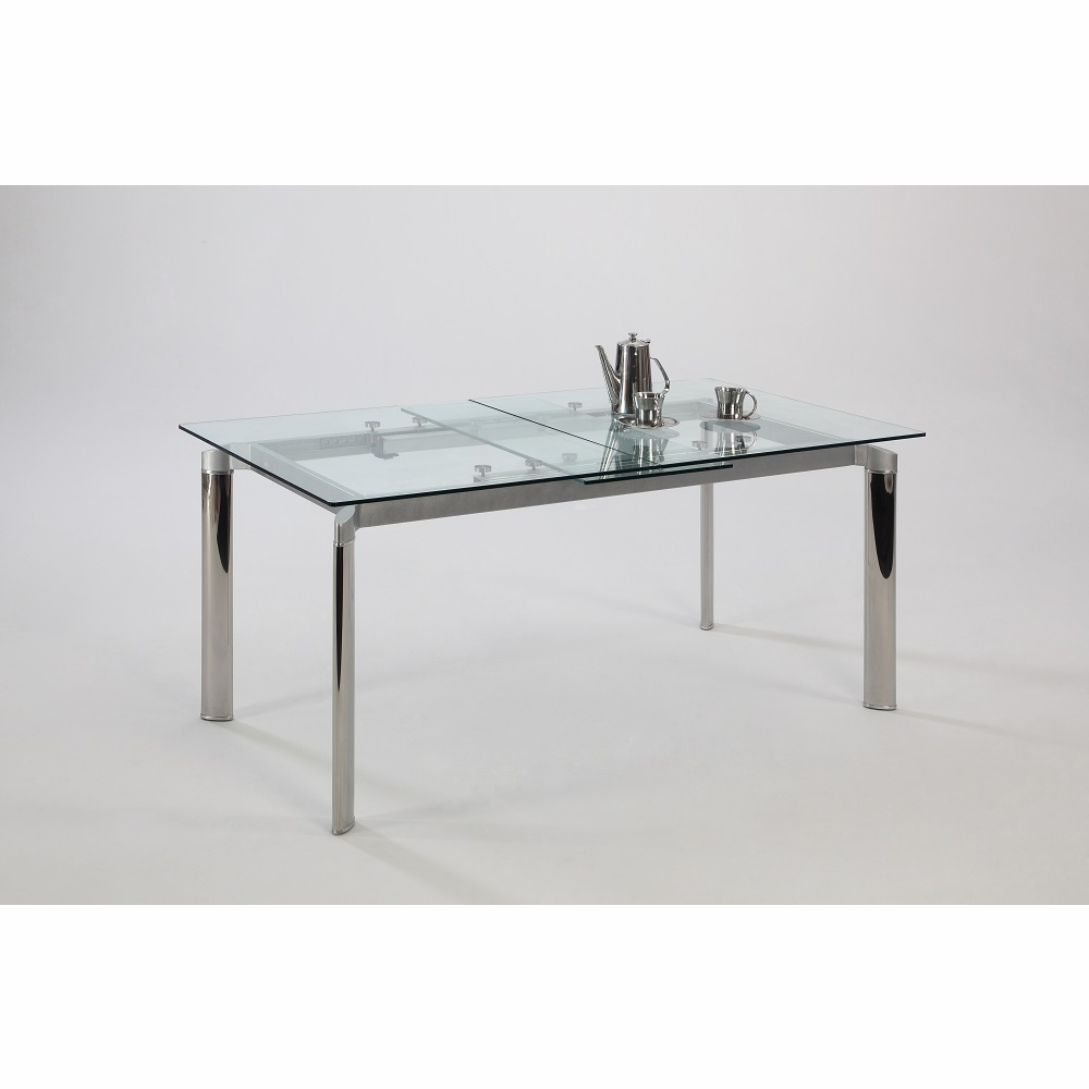 Tara Pop Up Extension Clear Glass Dining Table