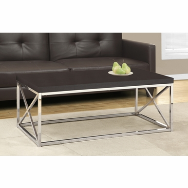 Monarch Specialties - Coffee Table Cappuccino Chrome Metal - I-3270