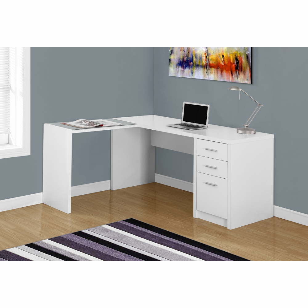 Monarch Specialties Computer Desk White Corner With Tempered Glass I 7136