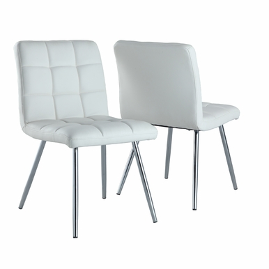 Monarch Specialties - Dining Chair 32H White Leather Look Chrome - (Set of 2) - I-1071