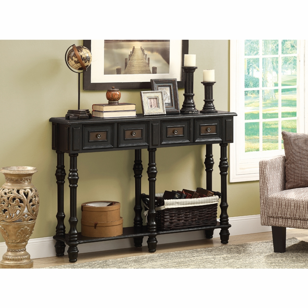 Delicieux Monarch Specialties   Console Table 48L Antique Black Traditional Style    I 3885