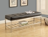 Monarch Specialties - Bench 48L Black Leather Look Chrome Metal - I-4535