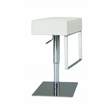 Chintaly - Pneumatic Gas Lift Adjustable Height Swivel Stool Brushed Stainless Steel - 0811-AS-WHT
