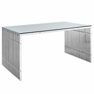 Modway - Gridiron Stainless Steel Dining Table in Silver - EEI-1433-SLV