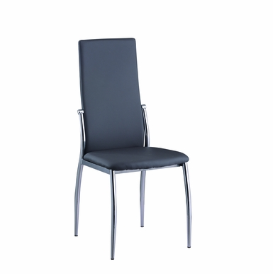 Chintaly - Luna Contour Back Side Chair in Grey PU - Set of 4 - LUNA-SC-GRY