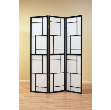 Monarch Specialties - Folding Screen 3 Panel Black Frame - I-4627