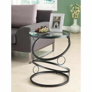 Monarch Specialties - Matte Black Metal Accent Table With Tempered Glass - I 3317