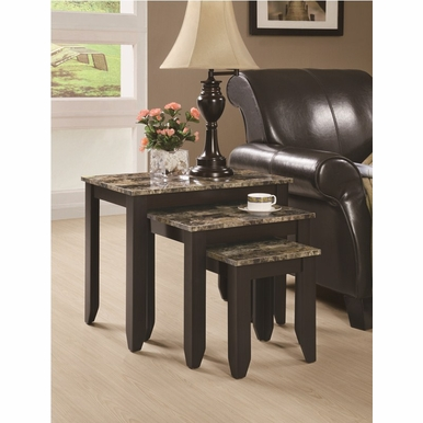 Monarch Specialties - Cappuccino / Marble Top 3Pcs Nesting Table Set - I 7982N