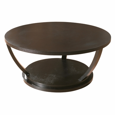Allan Copley Designs - Concept Round Cocktail Table in Black on Oak Finish - 3309-01