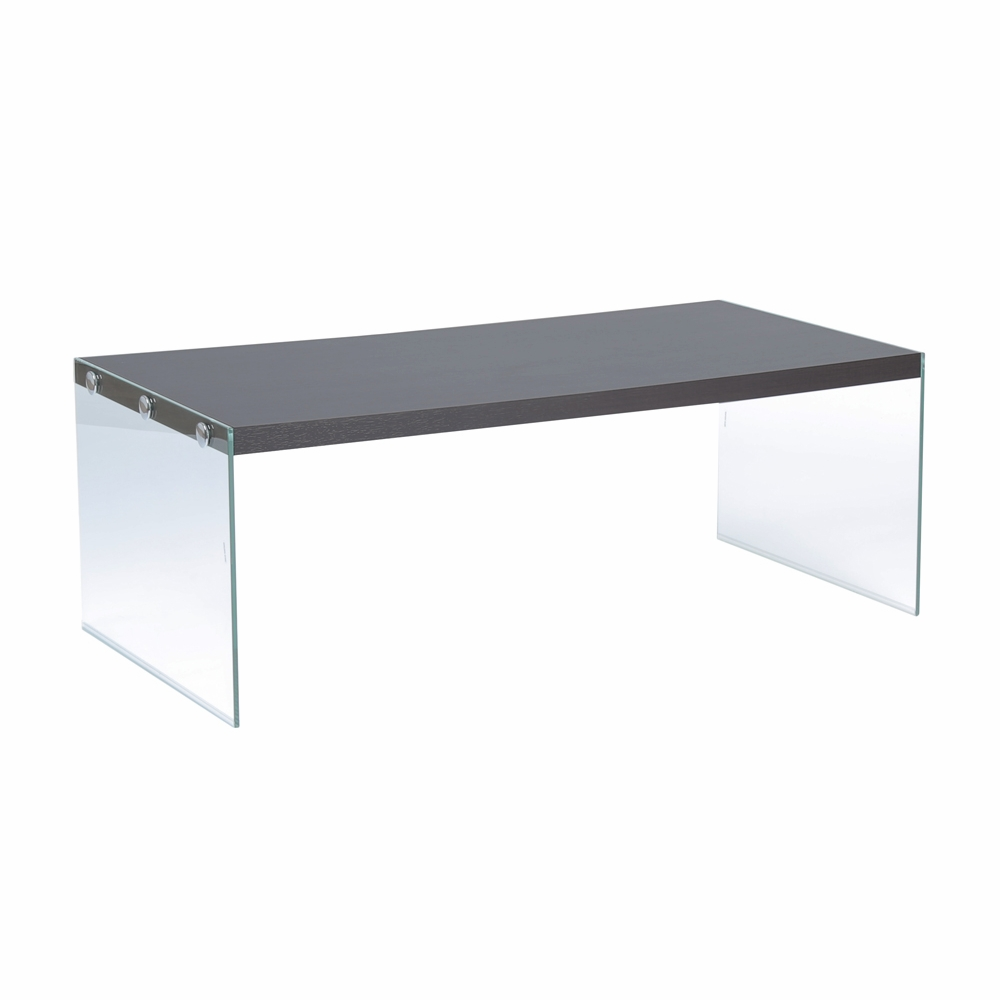 Monarch Specialties   Coffee Table Cappuccino With Tempered Glass   I 3280