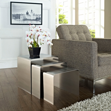 Modway - Rush Nesting Table in Silver - EEI-286-SLV