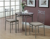 Monarch Specialties - Cappuccino / Silver Metal 3Pcs Bistro Set - I 3075