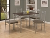 Monarch Specialties - Cappuccino / Silver Metal 5Pcs Dining Set - I 1020