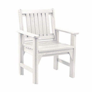 CR Plastic Products - Generations Dining Slat Back Style Arm Chair in White - C12-02