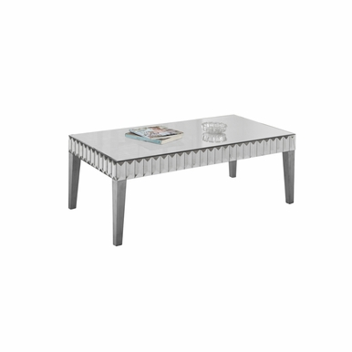 Monarch Specialties - Coffee Table 48X 24 Brushed Silver Mirror - I-3720