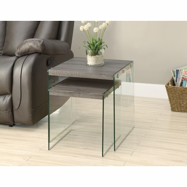 Monarch Specialties - Nesting Table 2 Pieces Set Dark Taupe Tempered Glass - I-3053