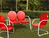 Crosley Furniture - Griffith 3 Piece Metal Outdoor Conversation Seating Set - Loveseat & 2 Chairs in Red Finish - KO10002RE