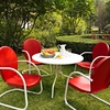 """Crosley Furniture - Griffith Metal 40"""" Five Piece Outdoor Dining Set - 40"""" DiningTable in White Finish with Red Finish Chairs - KOD1003WH"""
