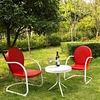 Crosley Furniture - Griffith 3 Piece Metal Outdoor Conversation Seating Set - Two Chairs in Red Finish with Side Table in White Finish - KO10004RE